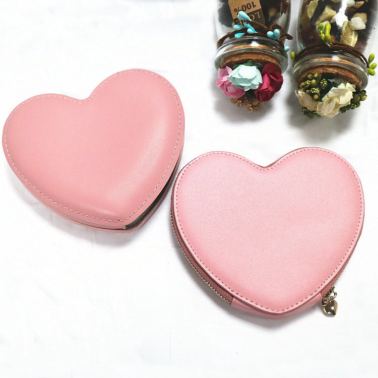 Processing New Style South Korea Hot Selling Genuine Leather Women's Heart-shaped Coin Purse Zipper Pink Pendant Small Coin Bag