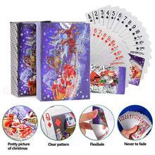 2 комплекта игральных карт с рождественским рисунком водонепроницаемые серебряные фольги рождественские коляски игральные карты
