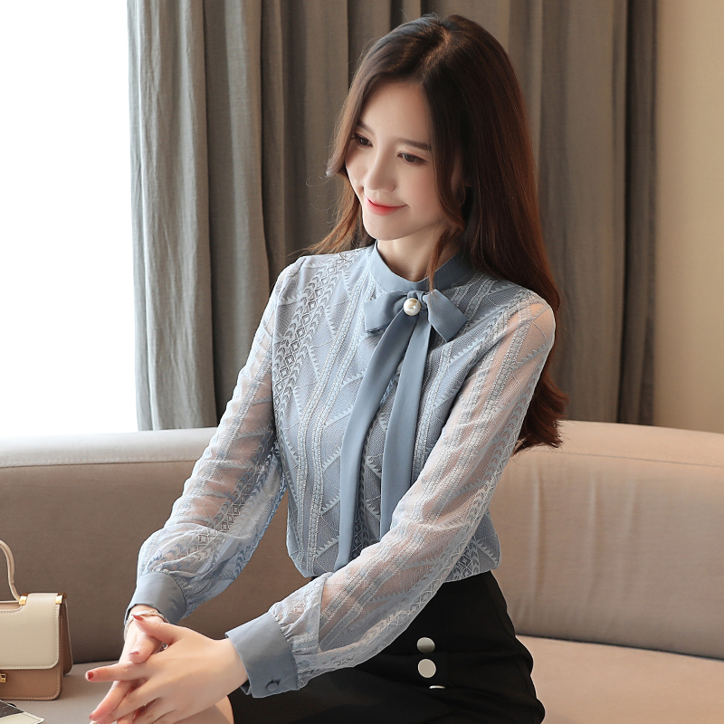 COIGARSAM Fashion Blouse Women New Spring Korea Style Office Lady Lace Solid Loose Blusas Womens Tops And Blouses 8172