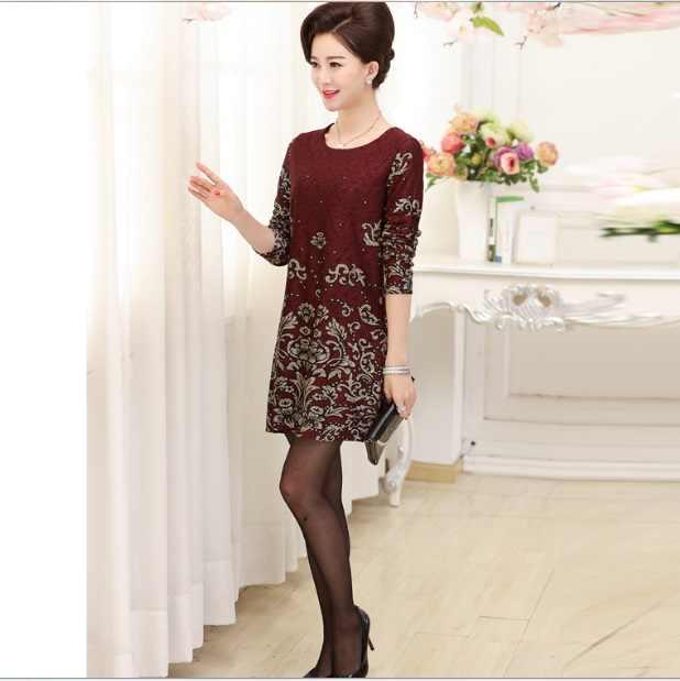 原宿ヴィンテージドレス女性パーティー Vestidos Mujer 中年女性プリントドレス長袖特大ドレス XL604