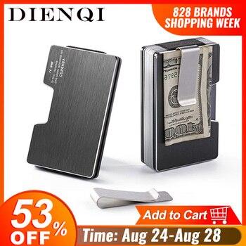DIENQI Rfid Anti Theft Metal Card Holder Men Wallet Money Bag Black Small Slim Wallet Male Mini Smart Magic Minimalist Wallet