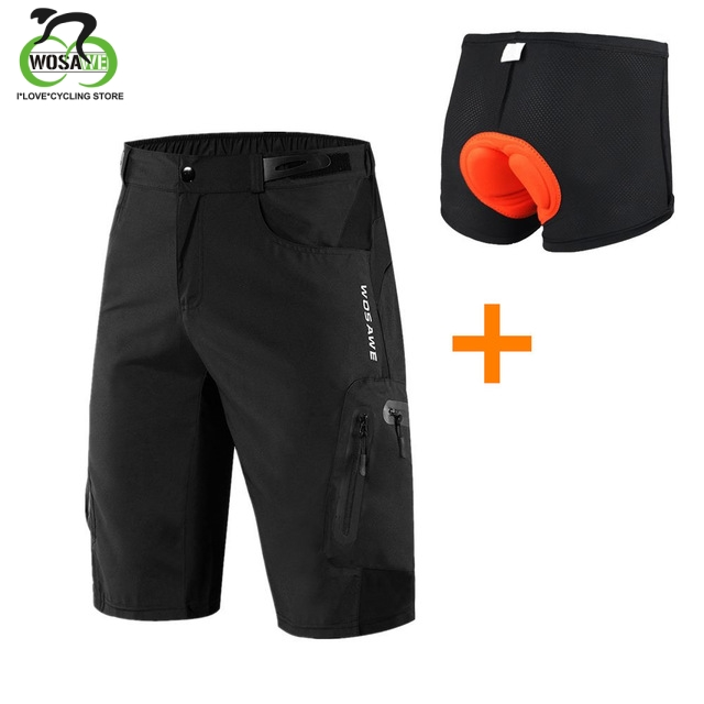 WOSAWE Summer Men's Cycling Shorts Loose-Fit Breathable Reflective Outdoor MTB Riding Road Mountain Bike Bicycle Downhill Shorts