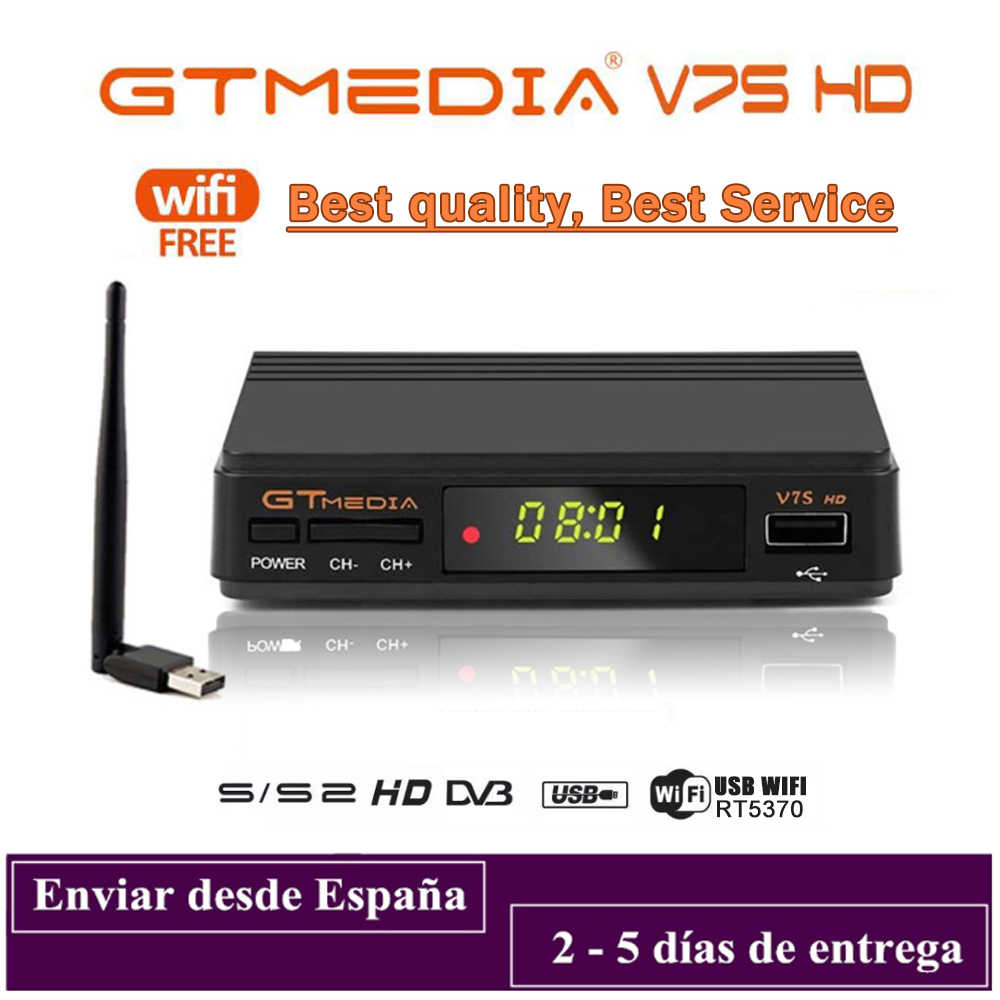 DVB-S2 Gtmedia V7S Hd 1080P DVB-S2 Gt Media V7S Hd Inclusief Usb Wifi H.265 Tv Box Aangedreven Door Freesat v7 Geen App