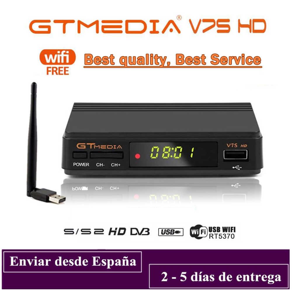 DVB-S2 Gtmedia V7S Hd 1080P DVB-S2 Gt Media V7S Hd Inclusief Usb Wifi H.265 Tv Box Aangedreven Door Freesat v7 Geen App