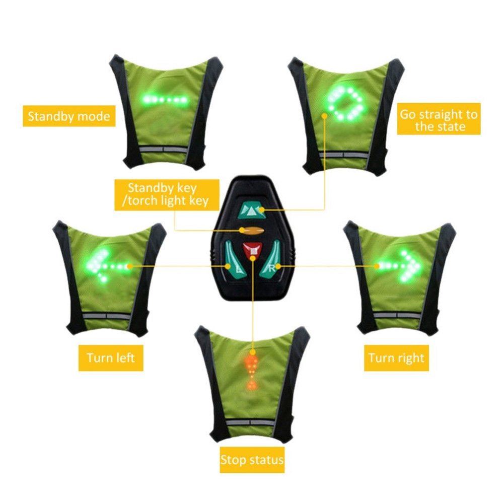 Pendant Practical Signal Vest Led Durable Waterproof Riding Portable Backpack Steering Light
