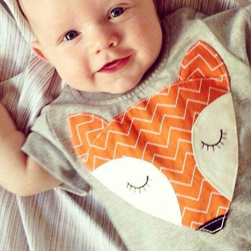 Pelele de zorro para bebés recién nacidos, conjunto de Mono para niños y niñas, ropa de verano de manga corta, pelele, trajes