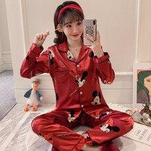 Pajamas Bear-Girls Long-Sleeved Disney Thin Trousers Ice-Silk Cool Leisure Two-Piece