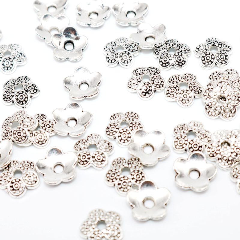 100Pcs Tibet Silver Plated Flower Loose Spacer Beads Caps Jewelry Making Finding