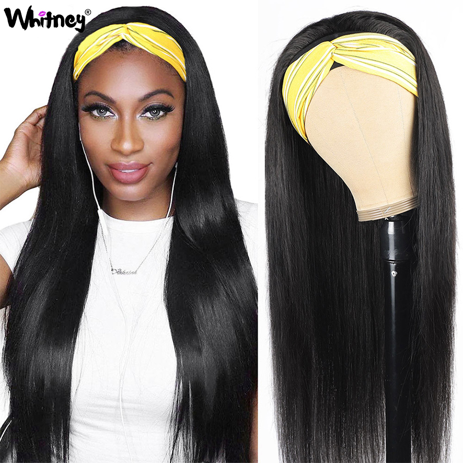 Whitney Long Straight Headband Wig Peruvian Remy Hair For Black Women Machine Made Cheap Human Hair Wigs With Headband Scarf