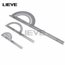 150mm 300mm de aço inoxidável 180 graus ângulo transferidor localizador régua medição rotativa ferramenta machinista artesão régua goniômetro