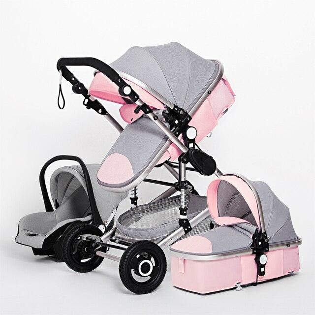 Luxo multifuncional 3 em 1 carrinho de bebê portátil alta paisagem carrinho dobrável carrinho de bebê ouro vermelho recém nascido 2