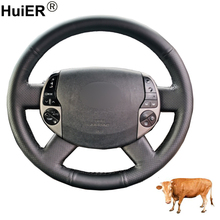 Hand Sewing Car Steering Wheel Cover Funda Volante Top Layer Cow Leather For Toyota Prius 20(XW20) 2004 2005 2006 2007 2008 2009