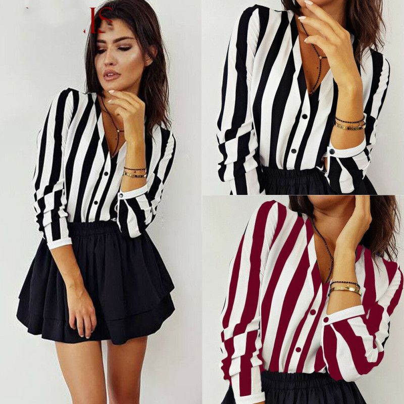 Womens Shorts Striped Printed Long Sleeve Shirts 2019 Hot Selling V Neck Female Spring Autumn Fashion Street Casual Clothes New