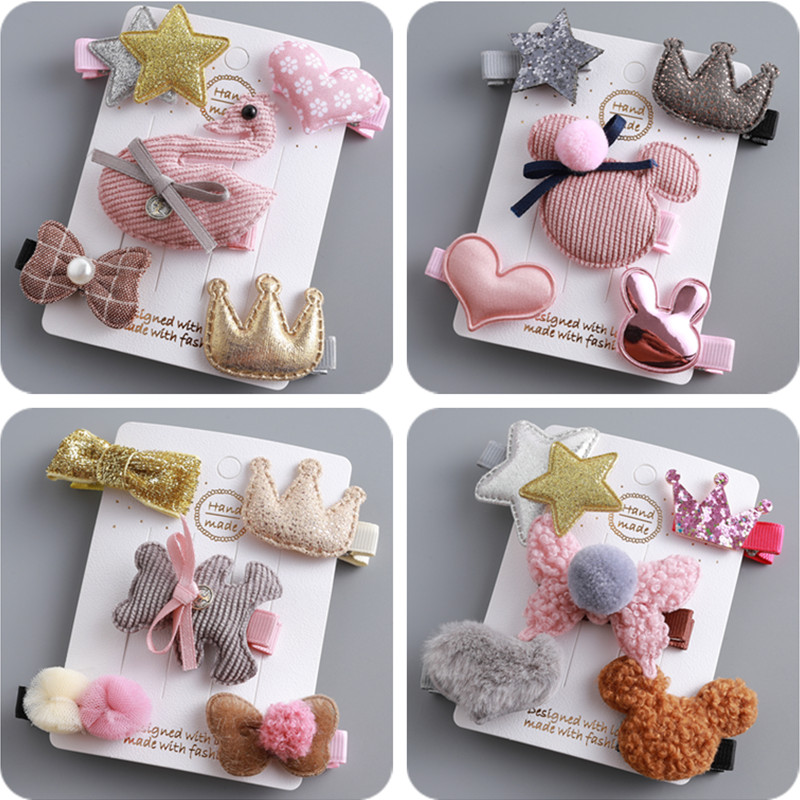New 5pcs/lot Children Kids Hair Accessories Lovely Star Hair Clip Cute Animal Hair Clips For Girls Kids Barrettes Hairpins