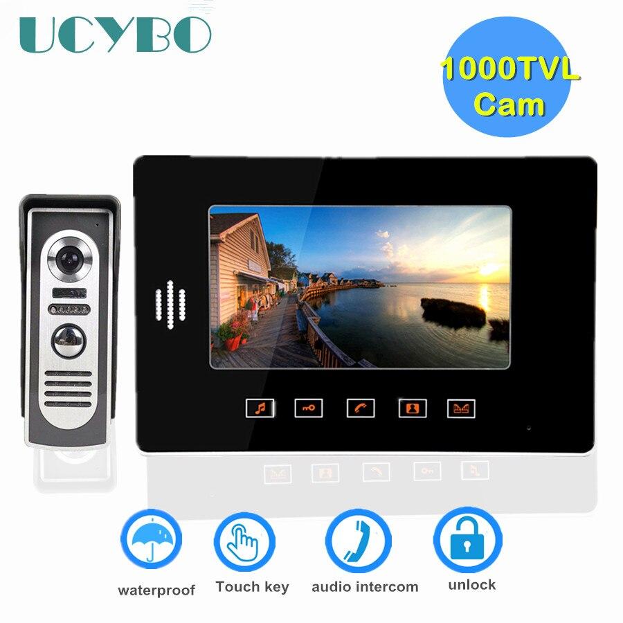 """7"""" Video Doorbell Intercom System Touch Key 1000TVL Door Video Camera Waterproof Infared Ir Wired Video Door Phone For Home"""