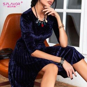Image 1 - Flavor vintage 3/4 manga vestido de veludo soild cor feminina 2020 primavera verão vestidos de festa plissados cinto sólido a linha vestidos