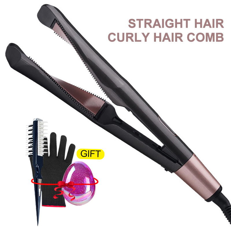 2 In 1 Hair Curler And Straightener Twist Curling Iron Barber Salon Flat Irons Styler Tourmaline Ceramic LED Freeshipping VIP