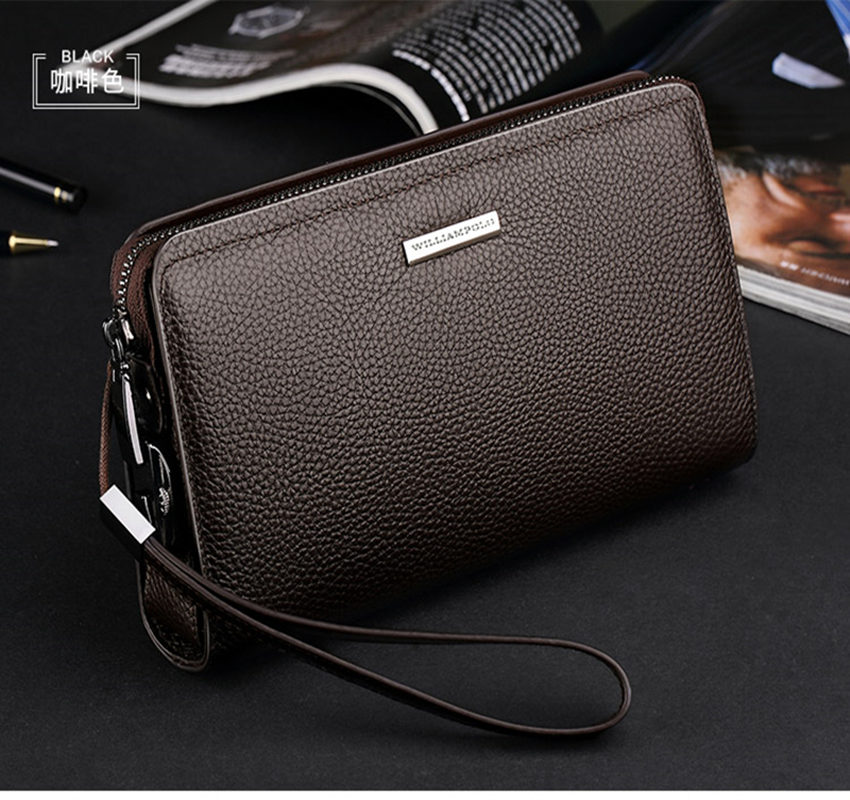 mens wallet leather genuine coin pocket long zipper coin purse for men clutch business Male Wallet Large men Wallets Men Men's Bags Men's Wallets cb5feb1b7314637725a2e7: Brown|black