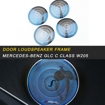 Car Door Loudspeaker Sound Frame Trim Cover Sticker Accessories for Mercedes Benz C Class W205 GLC 2016-2019 Auto