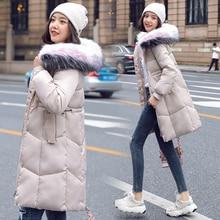 Winter Jacket Women 2019 Long Letter Print Parkas Coat Double Warm Big Fur Collar Causal Hooded