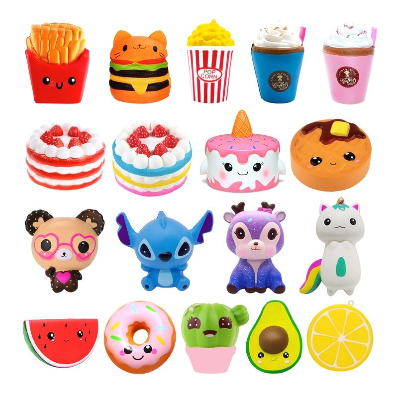 Jumbo Kawaii Popcorn Fries Panda Squishy Cake Deer Milk Squeeze Toys Slow Rising Cream Scented Antistress Child Kid Baby Toys