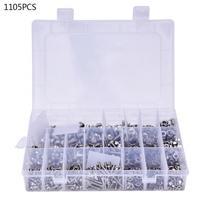 1105 Pcs Screw Kit Pan Head Hex Socket Screw Nut Washer Assortment Kit M3 M4 M5
