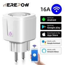 Herepow wi fi inteligente plug adaptador 16a controle de voz remoto tomada do monitor energia função temporização trabalho com alexa casa tuya
