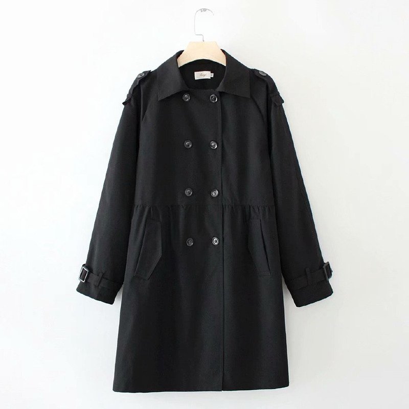 Plus Size Women's Autumn Winter coats Officewear Khaki Black Ladies'   trench   Long Coats   trench   coat for women