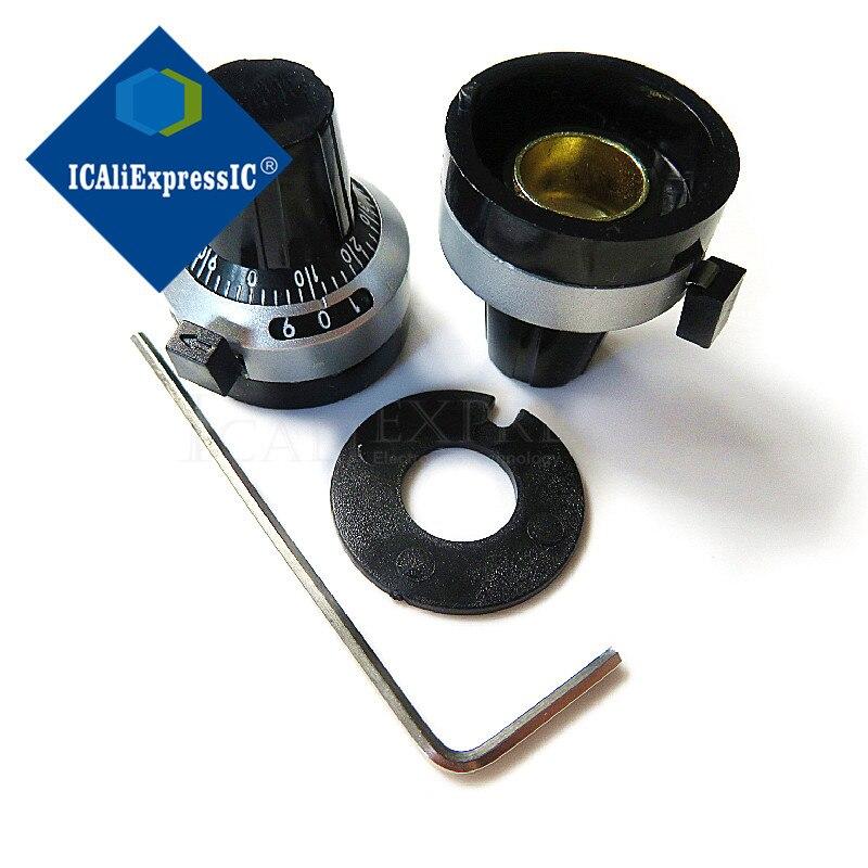 3590S-2-103L 3590S 10K ohm potentiomètre multitours de précision 10 anneau résistance réglable + tours cadran de comptage rotatif 6.35mm bouton