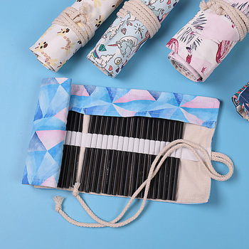 Kawaii 36 48 72 Holes Pencil Case Canvas Makeup Cosmetic Pen Wrap Roll Art Bag Pouch Storage Stationery Student School Supplies j26 kawaii cute moomin canvas pen bag pencil holder storage case school supply birthday gift cosmetic makeup travel