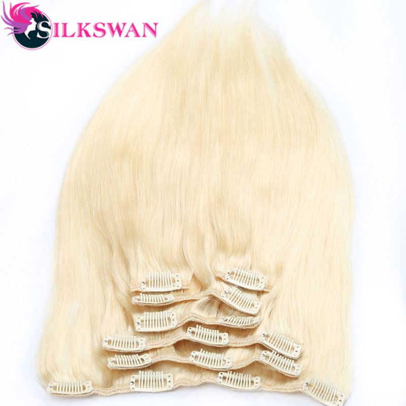 Human-Hair-Extensions Clip-In Remy Straight Brazilian 100g Silkswan -613 Full-Head-Sets