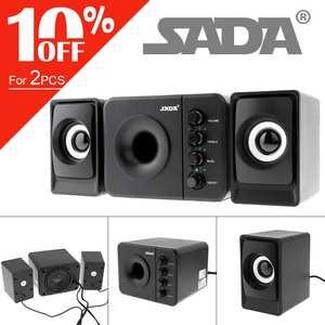 SADA Computer Speakers Stereo Subwoofer Laptop-Tv DJ Music Full-Range USB 3 for D-205