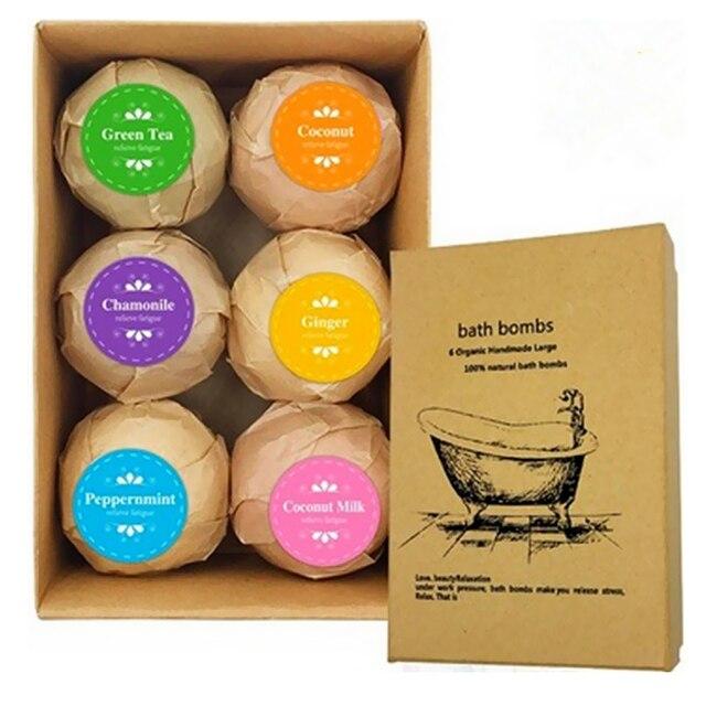 6pcs Handmade Natural Bath Salt Essential Oils Balls Kit Moisturize Dry Skin for Women Men Boys Kids 3