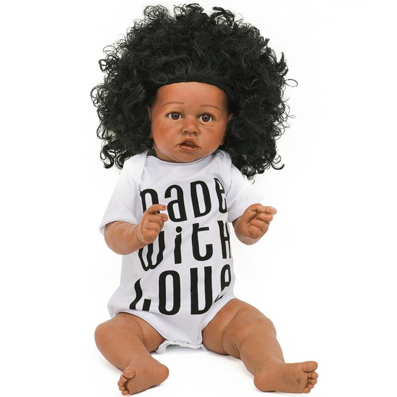 55cm Reborn bébé poupées avec cheveux bouclés réaliste réaliste bambin bébés poupée pleine Silicone corps poupées avec bouche tordue