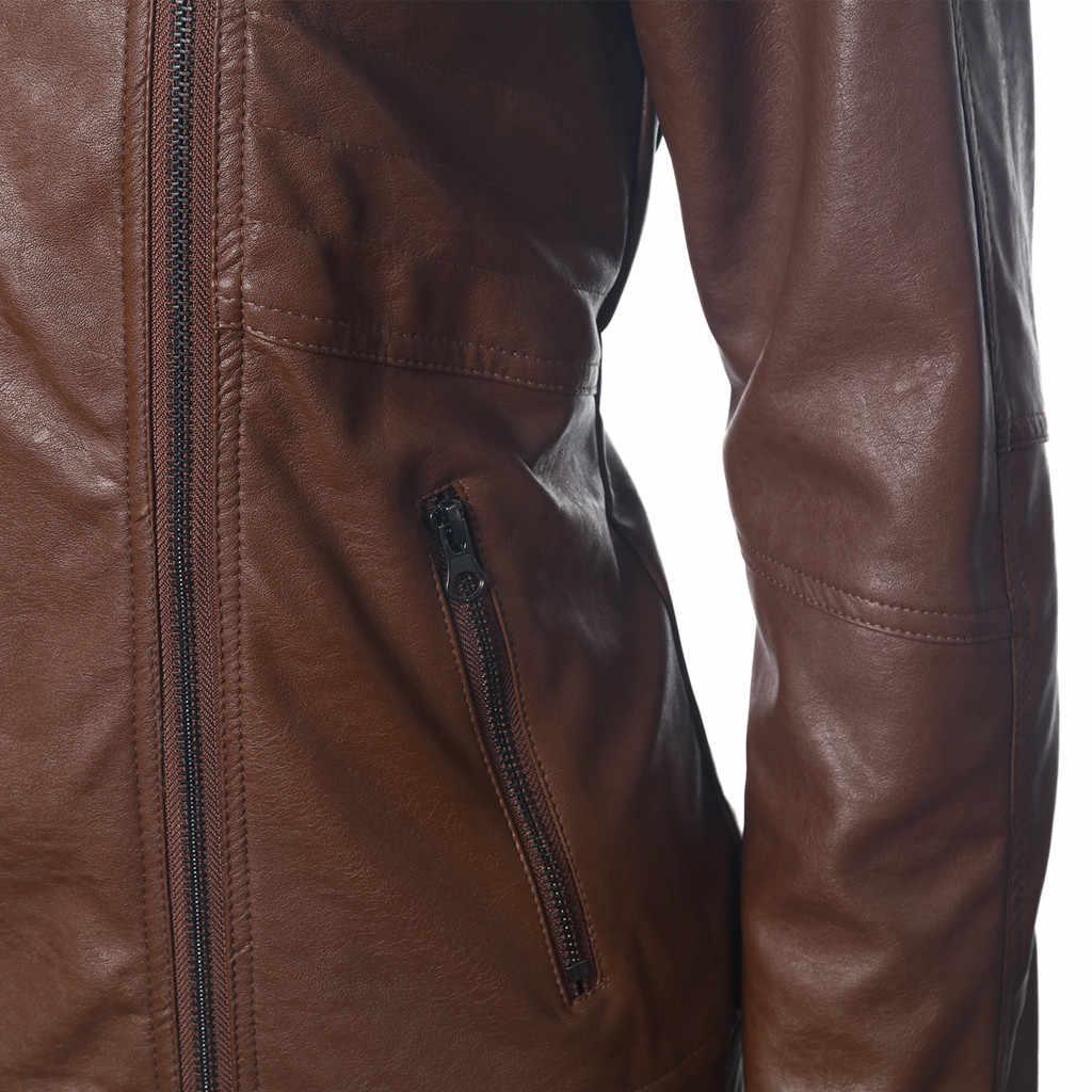 แจ็คเก็ตหนังผู้หญิงสุภาพสตรี Lapel Jacket Coat Zip Biker สั้น Punk Cropped Tops Ramoneska Chaqueta Mujer Jaqueta De Couro