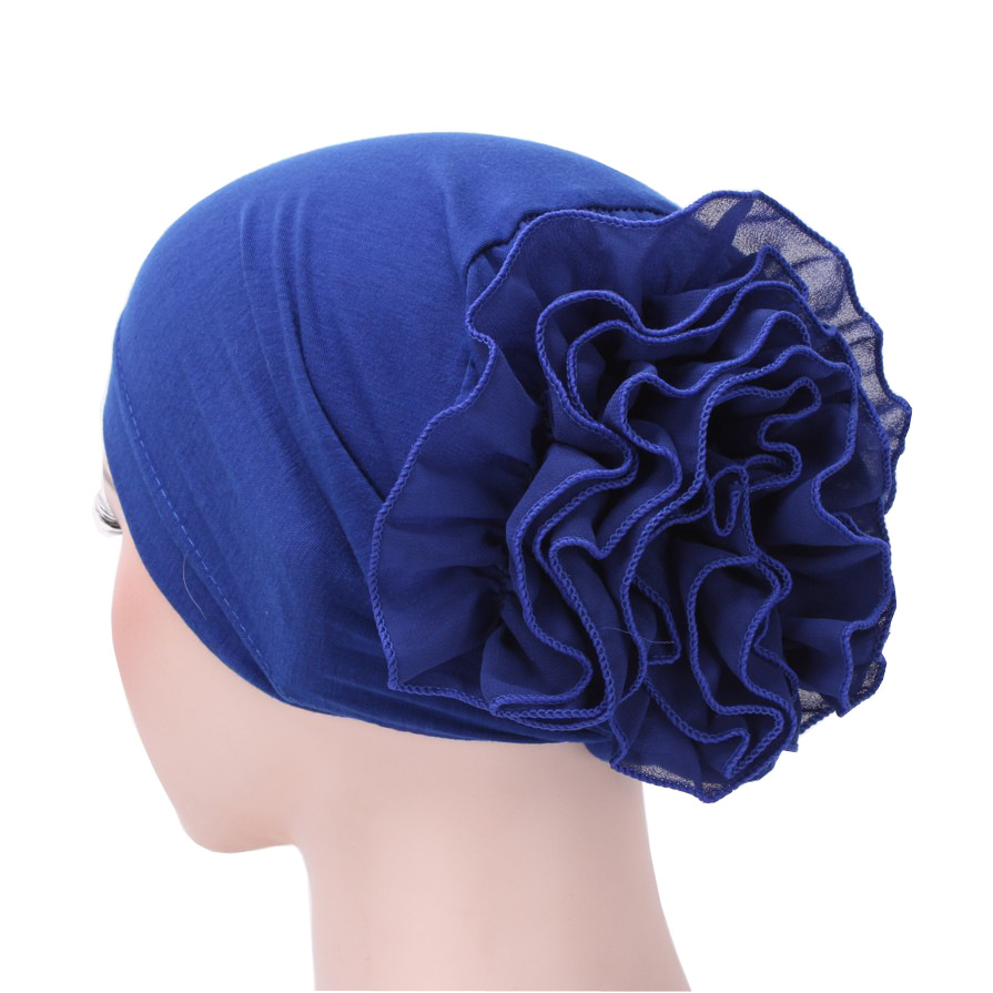 2020 New Cotton Hijab Caps Big Flower Turban Bonnet For Woman Islamic Wrap Head Inner Cap For Hijabs Trendy Muslim Headdress