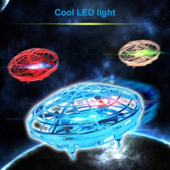 цена на Mini Kid 4 Axis UFO 360 degree rotation flying LED Induction Hand Flying Aircraft Toy Induction Drone Children Electronic Toy