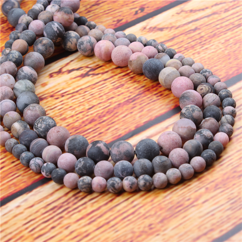 Black Line Red Natural Stone Bead Round Loose Spaced Beads 15 Inch Strand 4/6/8/10/12mm For Jewelry Making DIY Bracelet