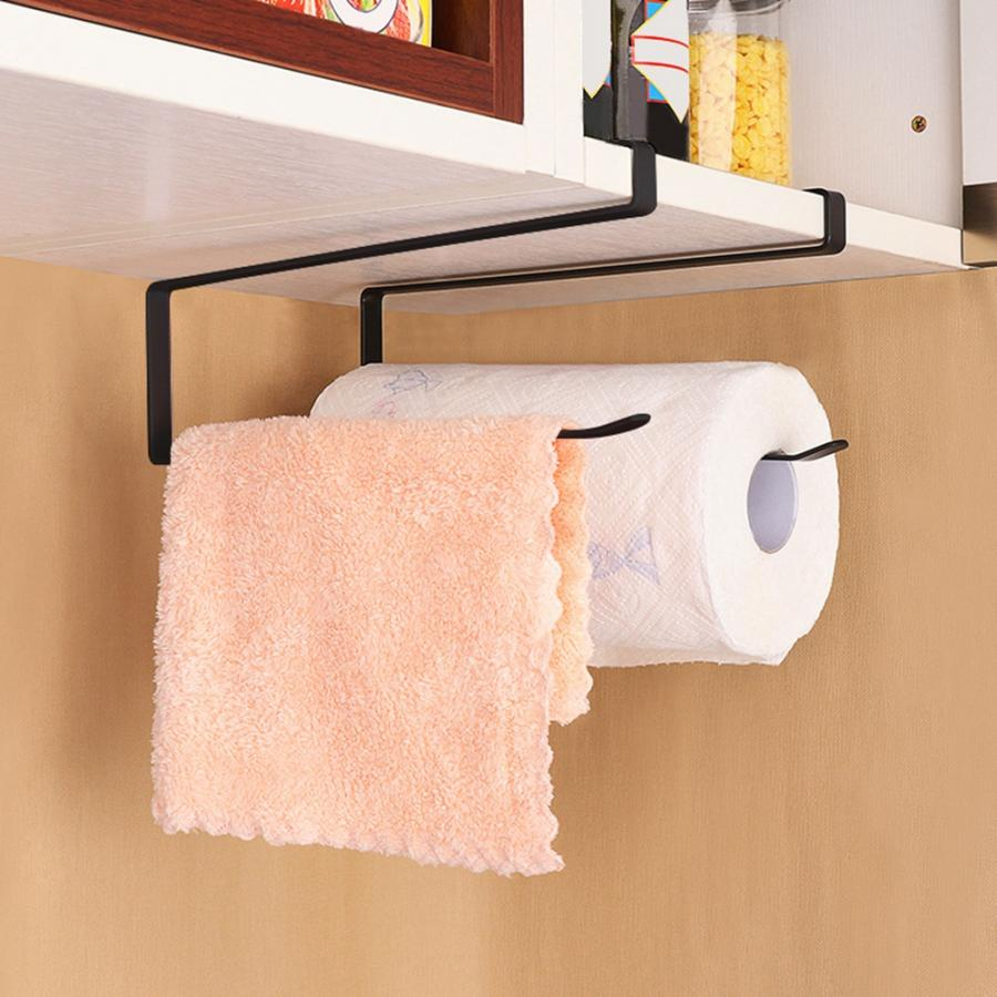 Kitchen Cabinet Steel Roll Paper Holder Paper Towel Rack Hanger Storage Organizer Black Bathroom Storage Accessories