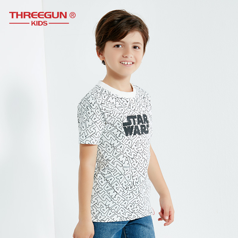 THREEGUN X Star WarsBoys T Shirts Kids Cartoon Short Sleeve T-shirt Child Clothes Spring Summer Boy Tee Children Top