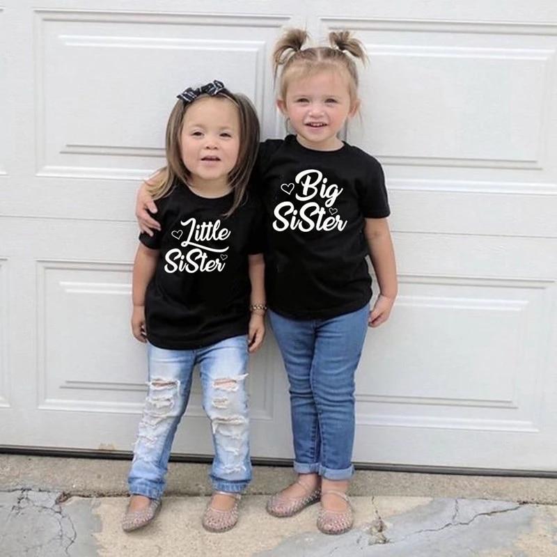 Футболка для сестры младшего возраста, летний комплект для девочек, для близнецов, для всей семьи