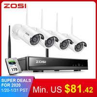 Zosi 8ch 1080 p hd wifi nvr 2ch/4ch 2.0mp ir ao ar livre à prova de intempéries cctv câmera ip sem fio segurança sistema vigilância de vídeo kit