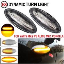 2pcs Dynamic LED Side Marker Lights Flowing Turn Signal Light Blinker For Toyota Yaris COROLLA Auris Mk1 E15 RAV4 Mk3