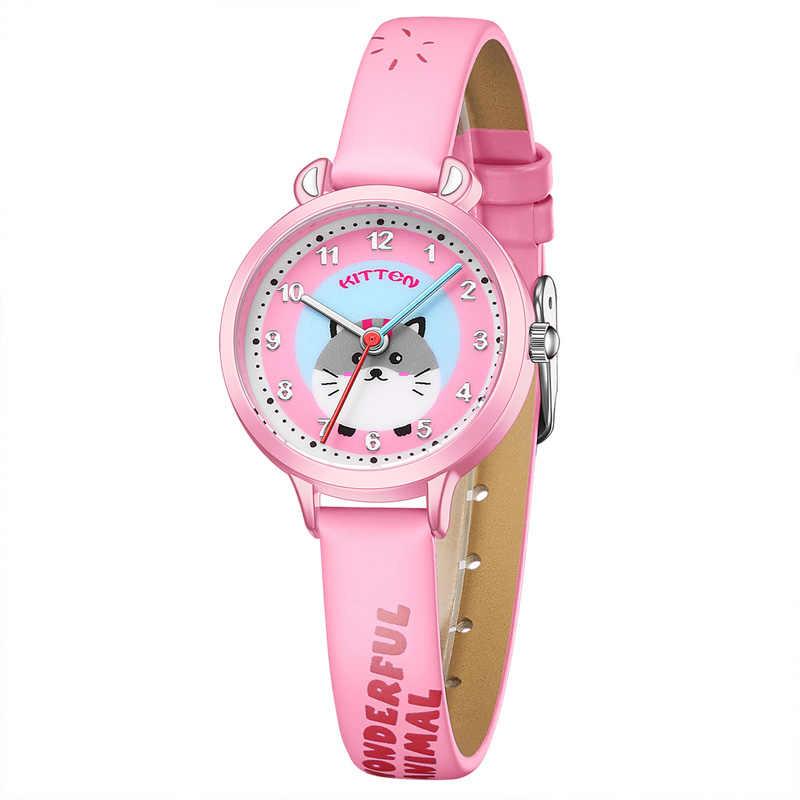 KDM moda w stylu Cute ładna dziewczyna Cartoon Mouse zegarki dla dzieci dla dzieci Student wodoodporny skórzany pasek kwarcowy zegarki na rękę