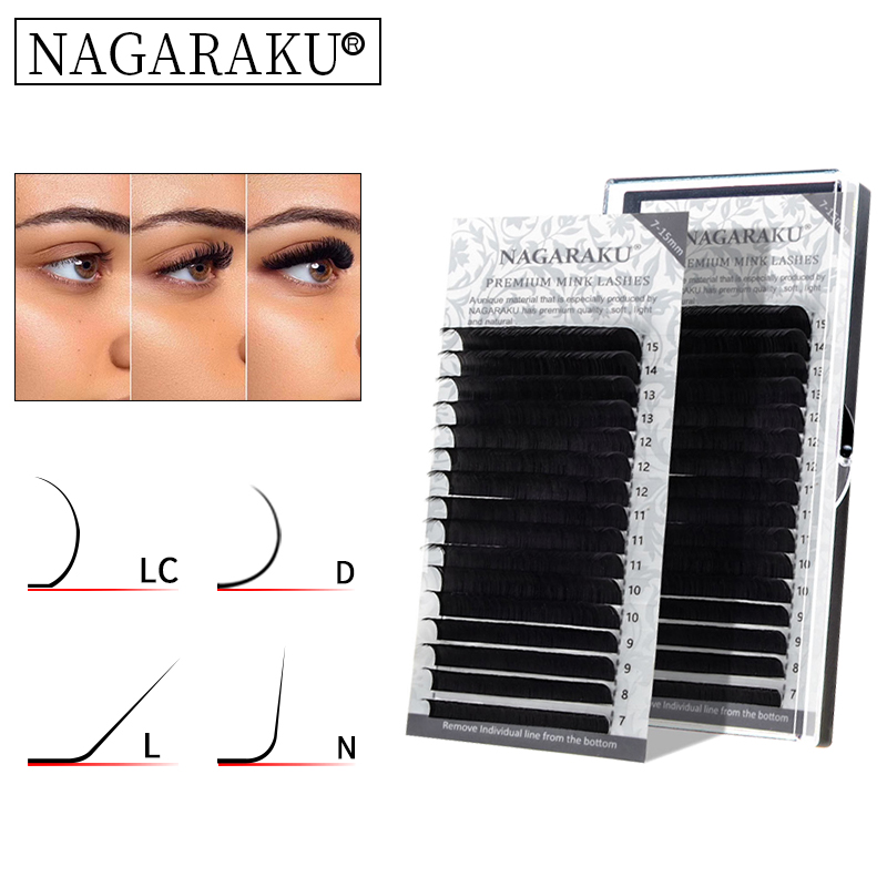 Nagaraku Eyelash Extension Synthetic Mink 16rows Case 7 15mm D N Lc L Mix Premium Natural Individual Makeup Maquiagem Cilios Hot Sale C8b5 Cicig