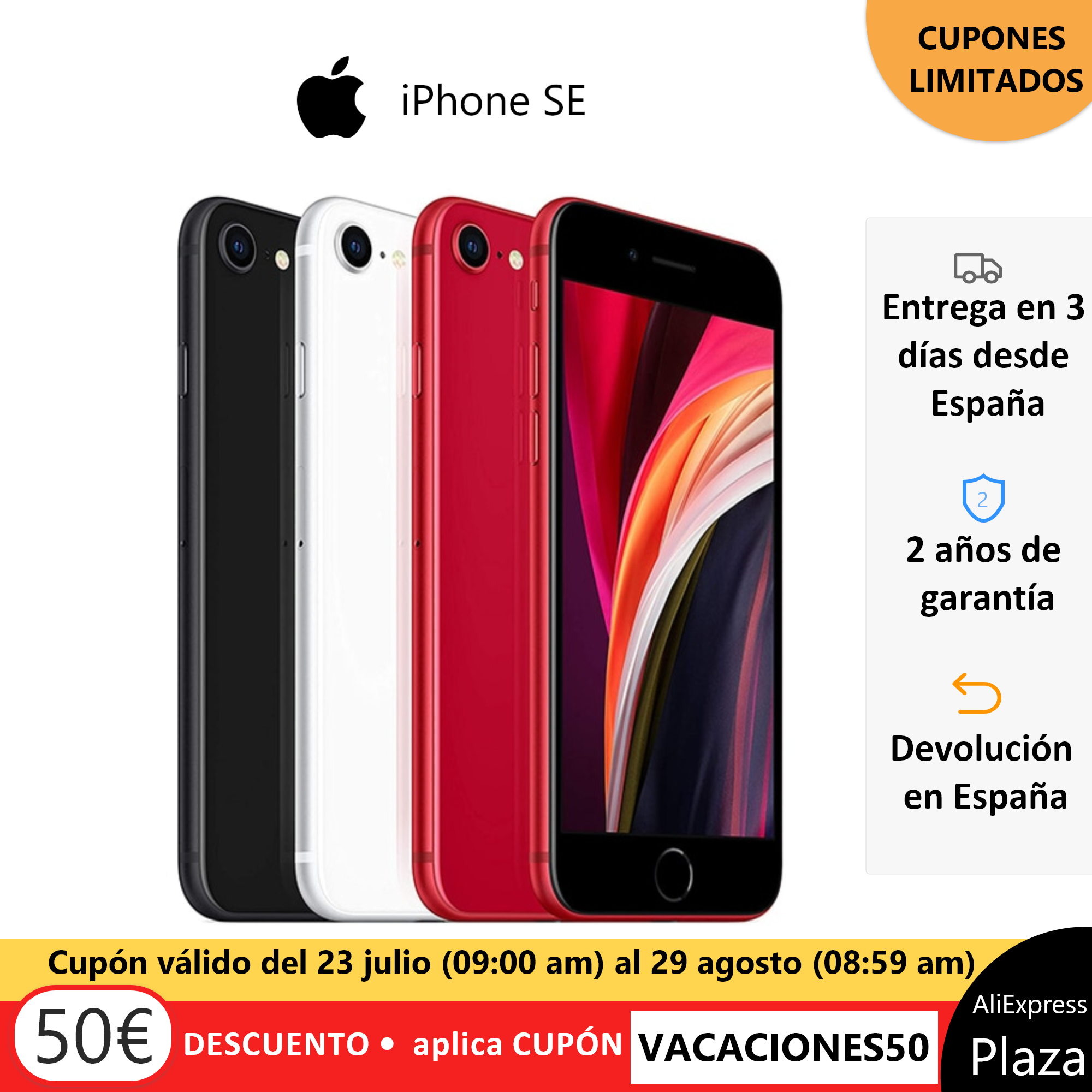 New Apple iPhone SE 64GB 128GB 256GB in Black White Red 4.7-inch HD Retina Display 12MP Camera 7MP Front Camera Chip A13 Bionic