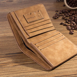 New Men's Leather Bifold Wallet Slim Hipster Cowhide Credit Card/ID Holders and Inserts Coin Purses Luxury Business Mens Wallet