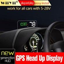 Wiiyii hud t900 hud c500 obd cabeça up display gps velocímetro universal carro excesso de velocidade aviso brisa projetor sistema de alarme