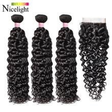 מים גל שיער עם סגירה הודי הארכת שיער 4X4 תחרה סגר עם חבילות Nicelight 3 חבילות עם סגירה waterwave שיער