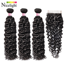 Water Wave Haar Met Sluiting Indian Hair Extension 4X4 Vetersluiting Met Bundels Nicelight 3 Bundels Met Sluiting waterwave Haar
